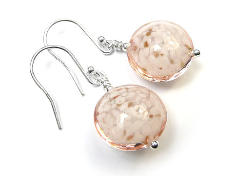 Murano Glass Lentil Earrings - Rose Cloud