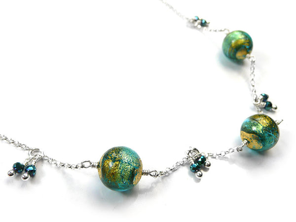 Murano Glass Necklace - Aqua Verde Gold