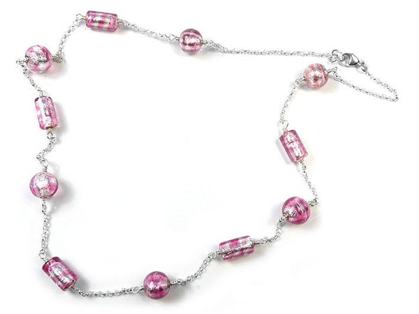 Murano Glass Necklace - Raspberry Ripple