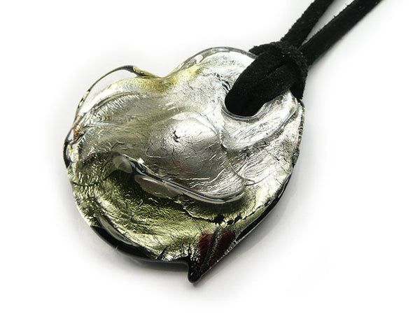 Murano Glass Heart Necklace - Black Diamond