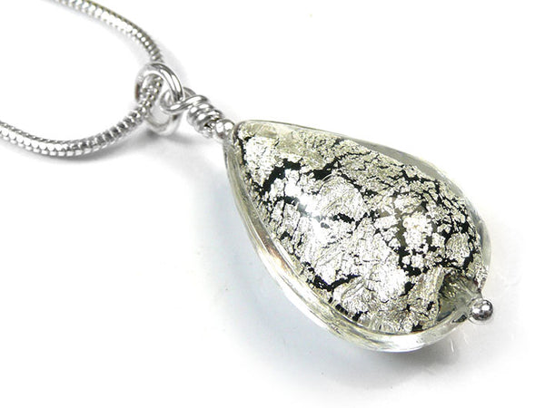 Murano Glass Pendant - Black and White Gold Drop