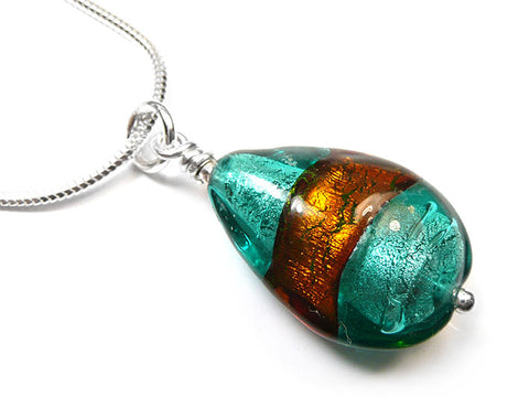 Murano Glass Pendant - Ginger Teal Drop