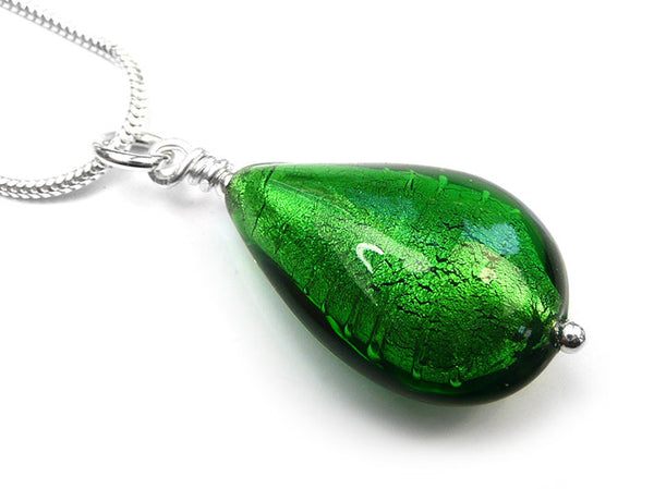 Murano Glass Pendant - Emerald Drop