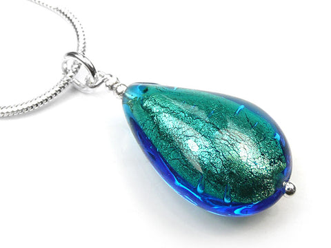 Murano Glass Pendant - Kingfisher Drop