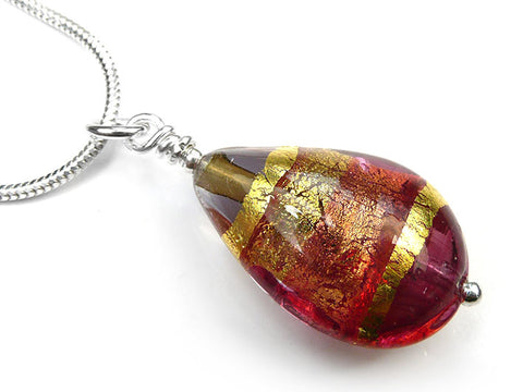 Murano Glass Pendant - Ruby Gold Drop