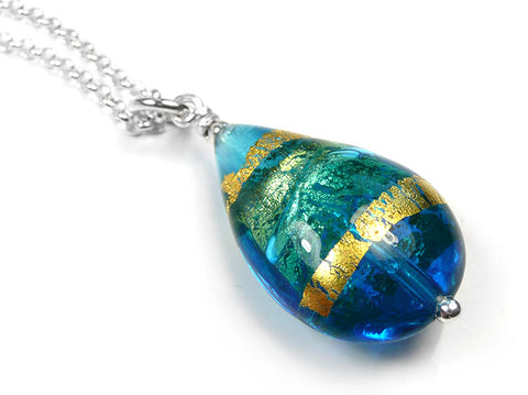 Murano Glass Pendant - Turquoise Blue Drop