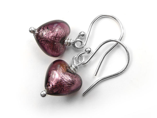 Murano Glass Tiny Heart Earrings - Amethyst