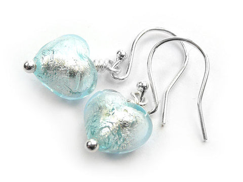 Murano Glass Tiny Heart Earrings - Aquamarine