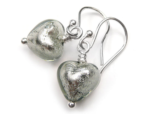 Murano Glass Tiny Heart Earrings - Black Diamond