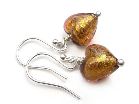 Murano Glass Tiny Heart Earrings - Chocolate