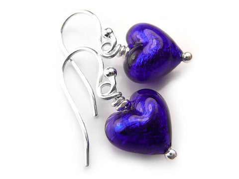 Murano Glass Tiny Heart Earrings - Electric