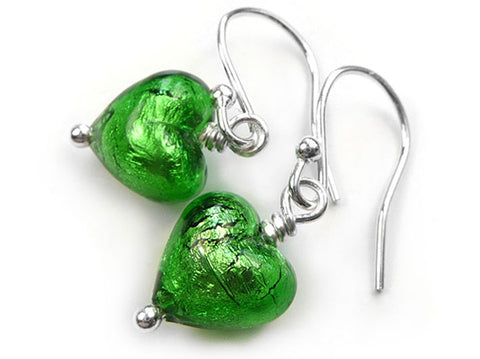 Murano Glass Tiny Heart Earrings - Emerald