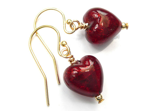 Murano Glass Tiny Heart Earrings - Gold Ruby