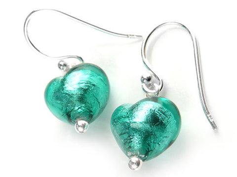 Murano Glass Tiny Heart Earrings - Jade