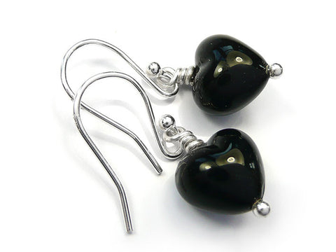 Murano Glass Tiny Heart Earrings - Jet