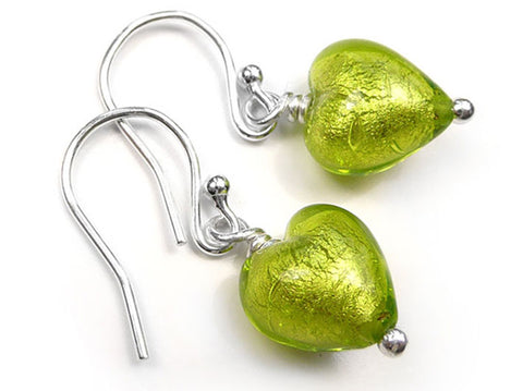 Murano Glass Tiny Heart Earrings - Lime