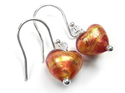 Murano Glass Tiny Heart Earrings - Peach Melba