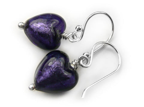 Murano Glass Tiny Heart Earrings - Purple Velvet