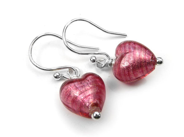 Murano Glass Tiny Heart Earrings - Raspberry