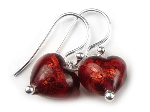 Murano Glass Tiny Heart Earrings - Rubino