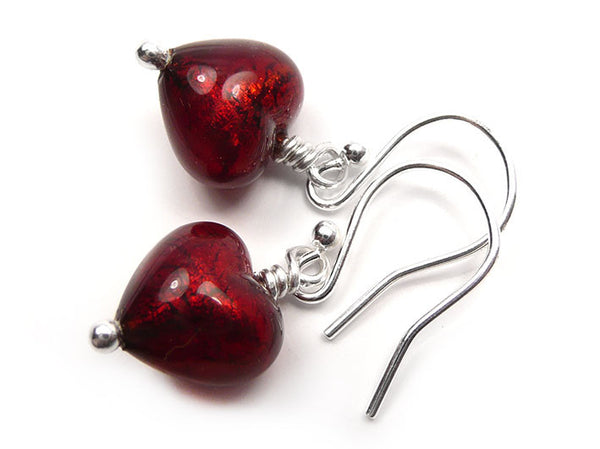 Murano Glass Tiny Heart Earrings - Ruby