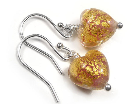 Murano Glass Tiny Heart Earrings - Salmon
