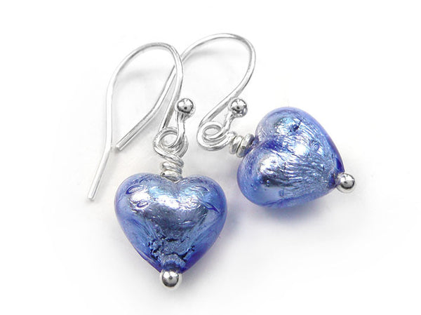 Murano Glass Tiny Heart Earrings - Sapphire