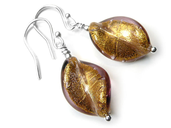 Murano Glass Twist Earrings - Chocolate