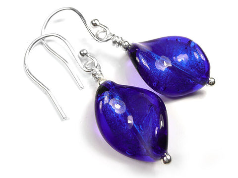 Murano Glass Twist Earrings - Electric
