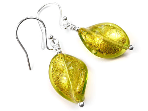 Murano Glass Twist Earrings - Lime