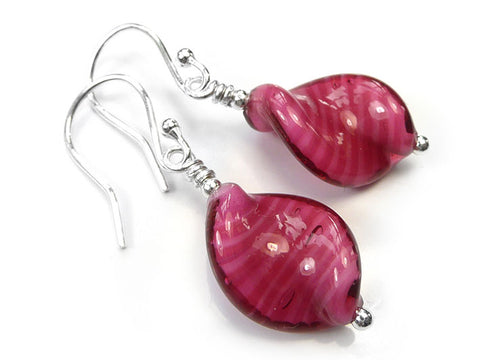 Murano Glass Twist Earrings - Raspberry White Core