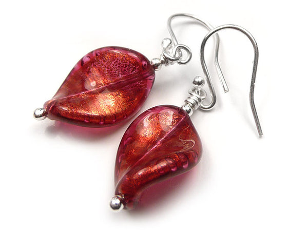 Murano Glass Twist Earrings - Rubino