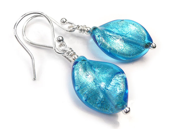 Murano Glass Twist Earrings - Turquoise