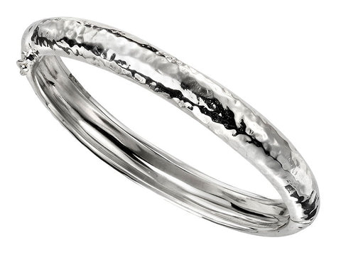 Silver Bangle - Beaten Hinged Medium