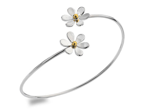 Silver Bangle - Daisy Wrap