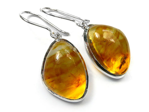 Silver Earrings - Amber