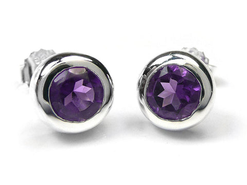 Silver Earrings - Amethyst