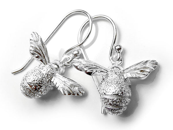 Silver Earrings - Bee