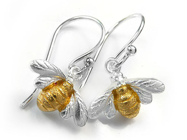 Silver Earrings - Bee Drop