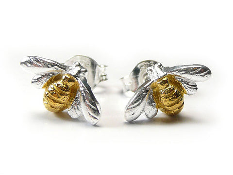 Silver Earrings - Bee Studs