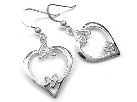 Silver Earrings - Celtic Heart Knots