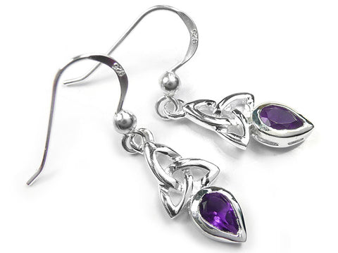Silver Earrings - Celtic Trinity Amethyst