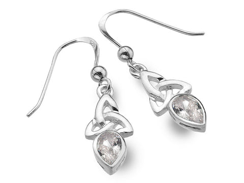Silver Earrings - Celtic Trinity April