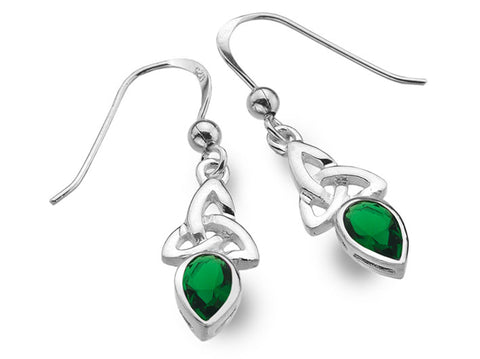 Silver Earrings - Celtic Trinity Emerald