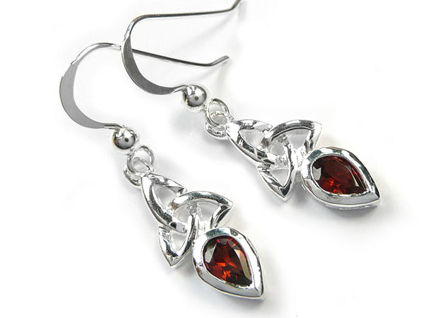 Silver Earrings - Celtic Trinity Garnet