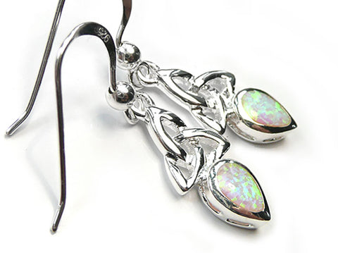 Silver Earrings - Celtic Trinity Opal