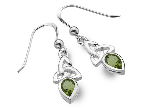 Silver Earrings - Celtic Trinity Peridot