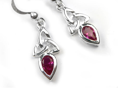 Silver Earrings - Celtic Trinity Ruby