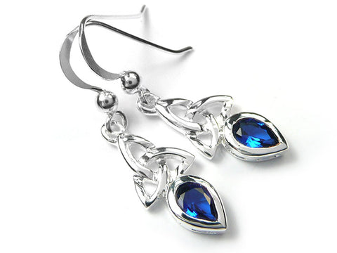 Silver Earrings - Celtic Trinity Sapphire