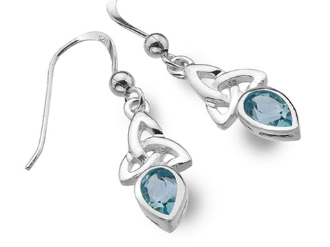 Silver Earrings - Celtic Trinity Topaz